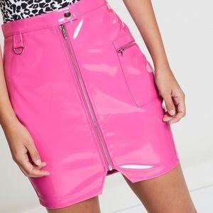 Missguided pink patent miniskirt